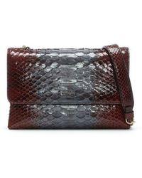 Lanvin - Mini Sugar Garnet Python Leather Burgundy Cross-body Bag - Lyst