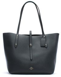 COACH - Market Polished Midnight Navy Leather Tote Bag - Lyst