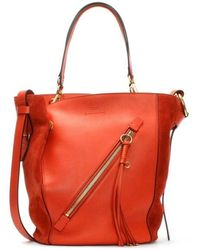 Chloé Chloe Myer Red Leather & Suede Double Carry Bag