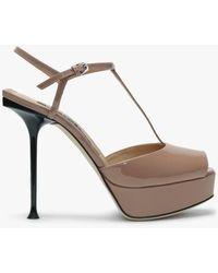 Sergio Rossi Milano 90 Nude Patent Leather Platform Sandals - Natural
