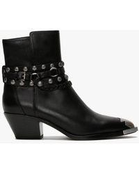 Ash Folk Black Leather Western Ankle Boots