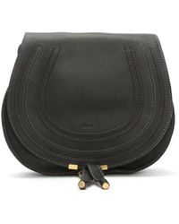 Chloé - Chloe Marcie Black Leather Medium Saddle Bag - Lyst