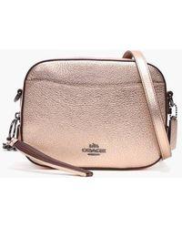 COACH - Metallic Rose Gold Leather Camera Bag - Lyst