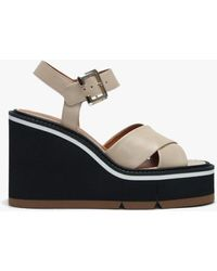 Robert Clergerie Alive Beige Leather Criss Cross Wedge Sandals - Multicolour