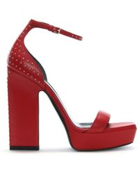 Saint Laurent - Debbie 105 Red Leather Studded Platform Sandals - Lyst