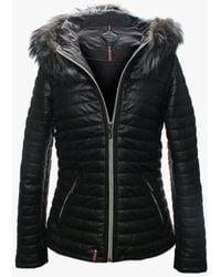 Oakwood - Happy Luxe Black Leather Fur Trim Hooded Jacket - Lyst