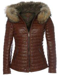 Oakwood - Tan Leather Fur Trim Jacket - Lyst
