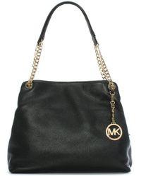 Michael Kors - Jetset Chain Large Black Leather Shoulder Tote Bag - Lyst