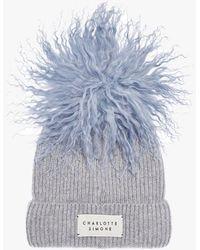 Charlotte Simone Bonnie Blue Cashmere Pom Pom Beanie Hat Accessories: