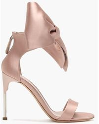 Alexander McQueen Pin Heel Nude Bow Sandals - Multicolor