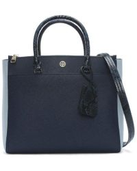 Tory Burch - Robinson Royal Navy   Blue Multi Leather Double Zip Tote Bag -  Lyst e264268cddf31