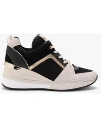 Michael Kors Georgie Light Cream Multi Mixed-media Wedge Sneakers Size - Black
