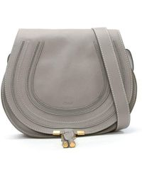 Chloé - Chloe Marcie Grey Leather Medium Saddle Bag - Lyst