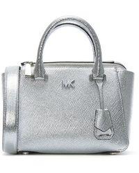 Michael Kors - Nolita Mini Silver Leather Satchel Bag - Lyst