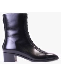 Aeyde - Noel Black Leather Lace Up Boots - Lyst