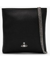 Vivienne Westwood Victoria Black Leather Square Chain Cross-body Bag A