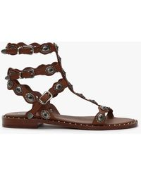 Ash Phoenix Tan Leather Gladiator Sandals - Brown