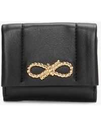 Anya Hindmarch Mini Rope Bow Trifold Black Leather Wallet
