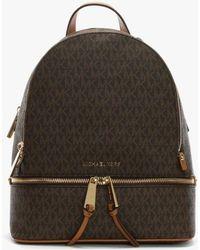 Michael Kors - Rhea Brown Logo Zip Fastening Backpack - Lyst