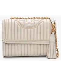 Tory Burch Mini Fleming Studded Birch Gold Leather Cross-body Bag Acce - Natural