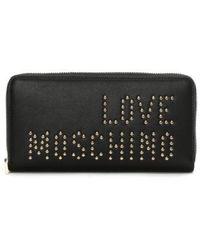 Love Moschino   Nat Black Studded Logo Zip Around Wallet   Lyst