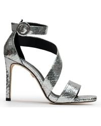 Lola Cruz Alford Silver Leather Reptile Heeled Sandals - Metallic