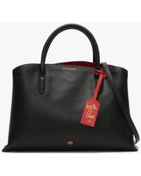 Lulu Guinness - Emma Black & Classic Red Grainy Leather Work Bag - Lyst