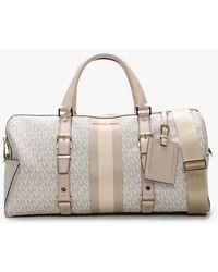 Michael Kors Large Bedford Travel Vanilla & Soft Pink Logo Stripe Weekender Bag - Multicolour