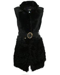 Class Roberto Cavalli - Jerkin Black Shearling Longline Sleeveless Coat - Lyst