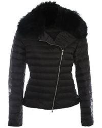 Daniel - Black Fur Trim Biker Jacket - Lyst