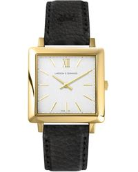 Larsson & Jennings Lj-w-nrs-gw34-o Norse Yellow Gold-plated And Leather Watch - Black