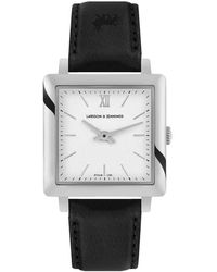Larsson & Jennings Ljxii Norse Leather 34mm Silver Satin-white - Black