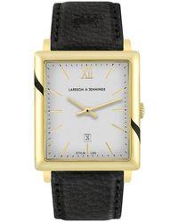 Larsson & Jennings Ljxii Norse Leather 40mm Gold Satin-white - Black