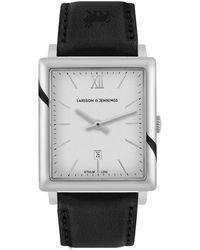 Larsson & Jennings Ljxii Norse Leather 40mm Silver Satin-white - Black