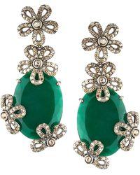 Bavna - Diamond Flower & Green Onyx Earrings - Lyst