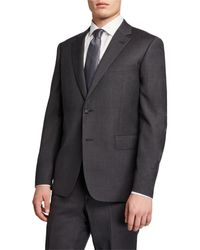 Neiman Marcus Men's Modern-fit Two-piece Wool Suit - Gray