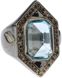 Bavna - Hexagonal Silver Ring With Blue Topaz & Diamonds - Lyst