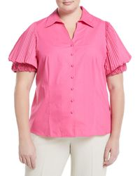 Go> By Go Silk - Rosette-sleeve Button-front Blouse - Lyst