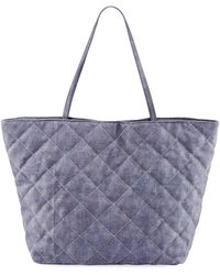 Neiman Marcus Diamond Quilted Tote Bag - Blue