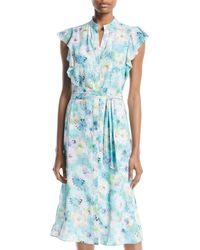 Catherine Malandrino - High-neck Ruffle-sleeve Belted Floral Dress - Lyst
