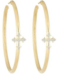 Jude Frances - 18k Fleur Cross Pave Diamond Large Hoop Earrings - Lyst