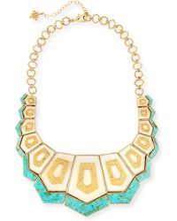 Akola Turquoise & Bone Hexagon Bib Necklace - Metallic