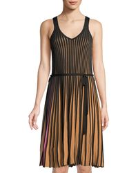 Haute Rogue - Sleeveless Pleated Belted Dress - Lyst