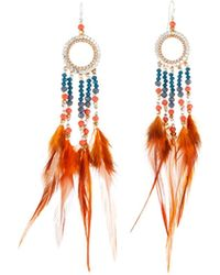 Nakamol - Beaded Hoop Drop Feather Earrings - Lyst