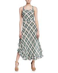 Max Studio - Linen Plaid Crisscross Flounce Midi Dress - Lyst