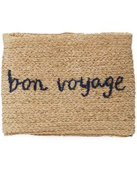Hat Attack - Whimsical Embroidered Raffia Clutch Bag - Lyst