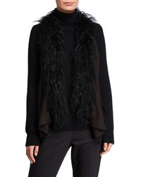 Adrienne Landau Vest W/ Mongolian Lamb Fur Trim - Black