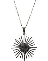 Bavna - Silver Sunburst Pendant Necklace With Black Spinel - Lyst