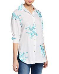 Finley - Coral Reef Printed Poplin Boyfriend Shirt - Lyst