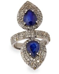 Bavna - Silver Double-pear Ring With Blue Sapphire & Diamonds - Lyst